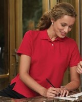 Harriton Cotton Pique Ladies Short-Sleeve Polo Shirts M100W. Embroidery available. Quantity Discounts. Same Day Shipping available on Blanks. No Minimum Purchase Required.