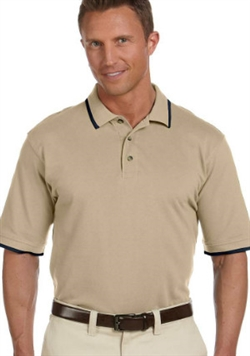 Harriton M210 Short Sleeve Pique Polo with Tipping