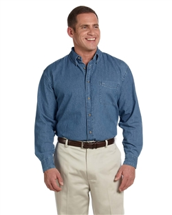 Harriton M550 Men's Long Sleeve Denim Shirt.