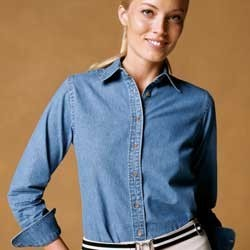 Harriton Womens Long Sleeve Denim Shirt M550W. Embroidery available. Quantity Discounts. Same Day Shipping available on Blanks. No Minimum Purchase Required.