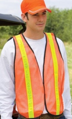 Port Authority 100% Polyester-Mesh Safety Vests SV02. Embroidery available. Same Day Shipping available on blanks. Quantity Discounts. No Minimum Purchase Required.