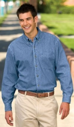 Port Authority TLS600 Tall Long Sleeve Denim Shirt with Pocket