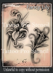 Wiser Pro Tattoo Stencils-- Fancy Lily