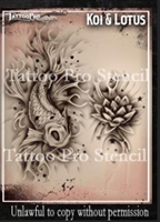 Wiser Pro Tattoo Stencils-- Koi and Lotus