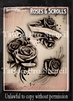 Wiser Pro Tattoo Stencils-- Roses and Scrolls