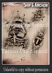 Wiser Pro Tattoo Stencils-- Ship and Anchor