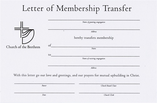 Letter Of Membership Transfer Certificate