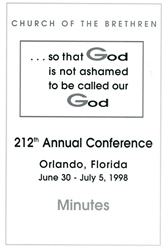 1998 Annual Conference Minutes: So that God is not Ashamed to be called our God