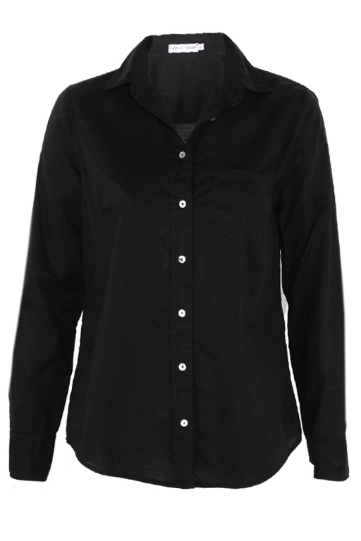 Cotton Long Sleeve Button Up Black