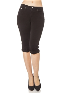 Cotton Twill Capri Jean black