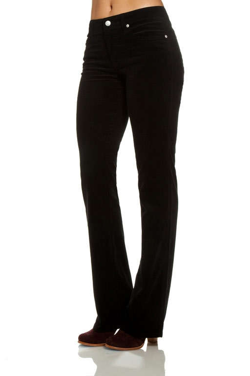 Slim Boot-cut Corduroy Pants   Black