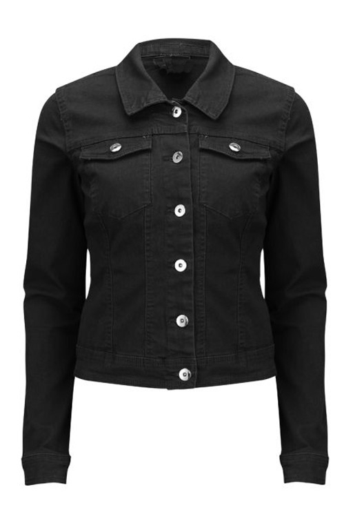Denim Stretch Jean Jacket | Black