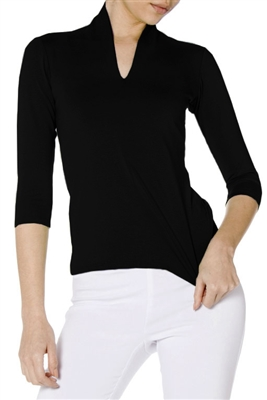 Jersey Knit 3/4 Length Sleeve | Black