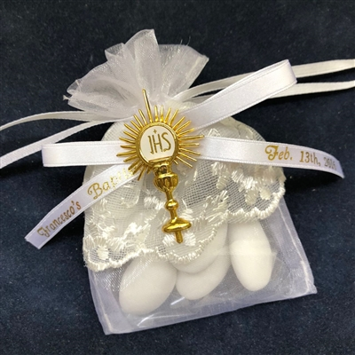 Lace Communion Favor Pouch with IHS Symbol and Personalization