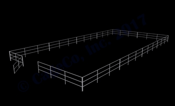 "48'W x 96'D 1-5/8"" 3-Rail w/ 12' Ranch Gate Arena"