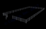 "48'W x 96'D 1-5/8"" 4-Rail with 12' Ranch Gate Arena"
