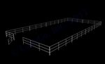 "48'W x 96'D 1-7/8"" 3-Rail w/ 12' Ranch Gate Arena"