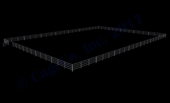 "120'W x 168'D 1-7/8"" 4-Rail w/ 12' Ranch Gate Arena"