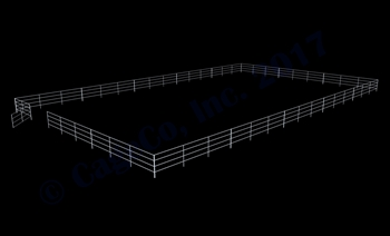 "72'W x 120'D 1-7/8"" 4-Rail w/ 12' Ranch Gate Arena"