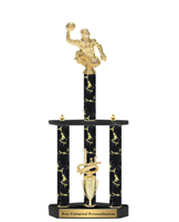 Black Magic 3 Column<BR> Water Polo Trophy<BR> 22 to 32 Inches
