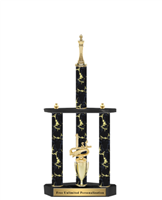 Black Magic 3 Column<BR> Chess Trophy<BR> 22 to 32 Inches