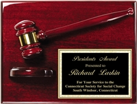 Rosewood Premium<BR> Gavel Block Plaque<BR> 9x12 Inches