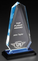 Executive Arrowhead<BR> Blue Acrylic Trophy <BR> 7.75 & 8.75 Inches