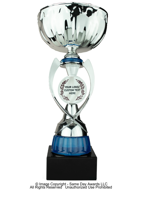 Silver & Blue Custom Logo<BR> Metal Trophy Cup<BR> 12 to 13.5 Inches