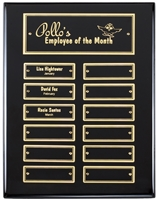 12 Plate<BR>Ebony Piano<BR> Perpetual Plaque<BR> 9x12 Inches