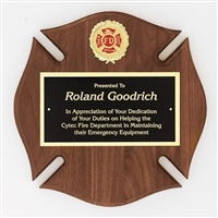Fireman Maltese<BR> Genuine Walnut Plaque<BR> 12x12 Inches