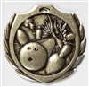 Burst Bowling Medal<BR> Gold/Silver/Bronze<BR> 2.25 Inches
