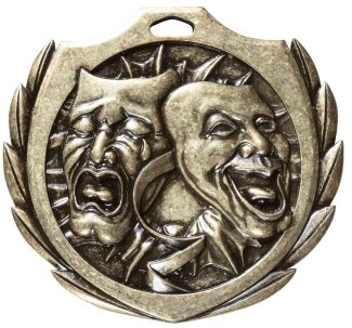 Burst Drama Medal<BR> Gold/Silver/Bronze<BR> 2.25 Inches