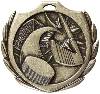 Burst Hockey Medal<BR> Gold/Silver/Bronze<BR> 2.25 Inches