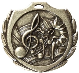 Burst Music Medal<BR> Gold/Silver/Bronze<BR> 2.25 Inches