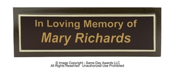 Outdoor Bench Plaque <BR> Cast Aluminum <BR> Brown and Gold<BR> 3x9 Inches