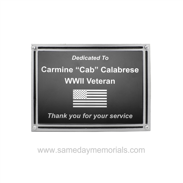 Outdoor Plaque<BR> Silver Double Border<BR> Cast Aluminum Plaques<BR> 4x6 to 8x10 Inches