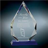 Premium Blue Diamond<BR> Crystal Trophy<BR> 7.75 & 10.25 Inches