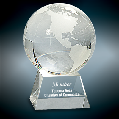 United Globe<BR> Crystal Trophy<BR> 2.25 to 4 Inches