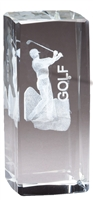Jr. Collegiate<BR> Male Golf<BR> Crystal Trophy<BR> 4.5 Inches