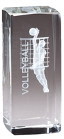 Jr. Collegiate<BR> Male Volleyball<BR> Crystal Trophy<BR> 4.5 Inches
