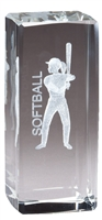 Jr. Collegiate<BR> Softball<BR> Crystal Trophy<BR> 4.5 Inches