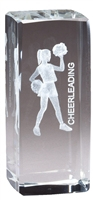 Jr. Collegiate<BR> Cheer<BR> Crystal Trophy<BR> 4.5 Inches