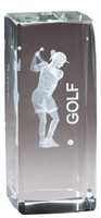 Jr. Collegiate<BR> Female Golf<BR> Crystal Trophy<BR> 4.5 Inches