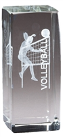 Jr. Collegiate<BR> Female Volleyball<BR> Crystal Trophy<BR> 4.5 Inches