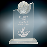 Golf Peak<BR> Crystal Trophy<BR> 7.5 to 9.5 Inches