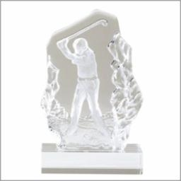 Sculpted Golf Iron<BR> Crystal Trophy<BR> 6.75 Inches