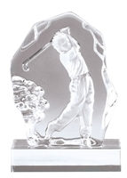 Sculpted Golf Driver<BR> Crystal Trophy<BR> 6.75 Inches