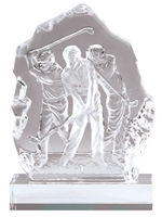 Sculpted 3 Golfers <BR> Crystal Trophy<BR> 7 Inches