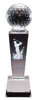 Collegiate Male Golf<BR> Crystal Trophy<BR> 8.75 Inches
