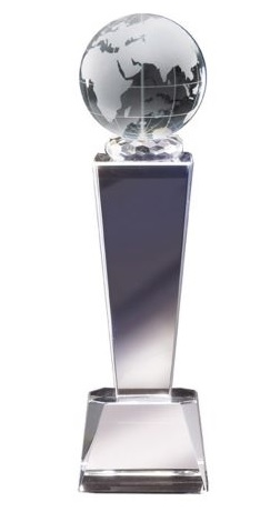Galaxy Globe<BR> Crystal Trophy<BR> 8.75 Inches